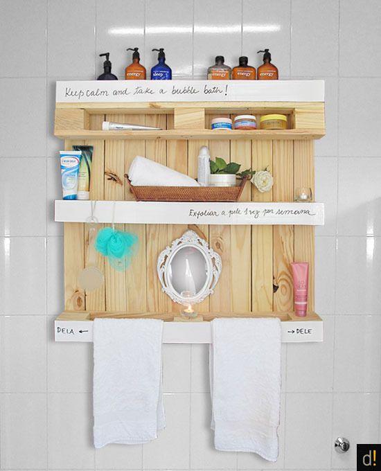 Pallet no banheiro  Joia de Casa -> Como Fazer Armario De Banheiro Reciclado