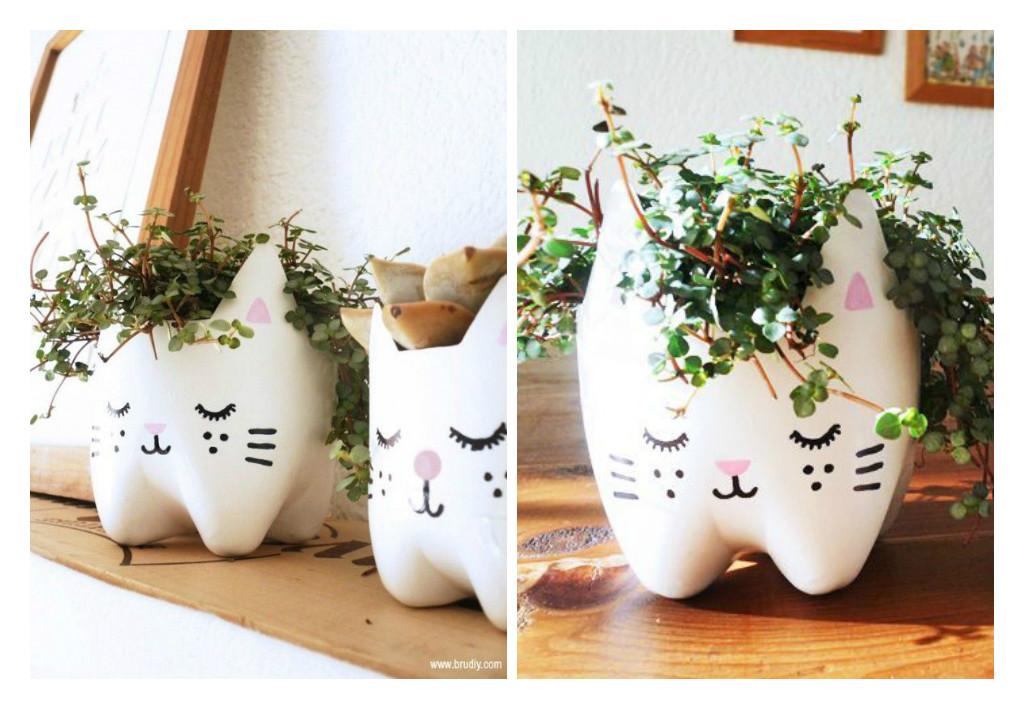 plantas para jardim vertical de garrafa pet:não morrer de amor por esse vaso de gatinho feito com garrafa PET