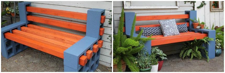 banco de concreto para jardim em jundiai : banco de concreto para jardim em jundiai:Faça você mesmo: Banco com blocos de concreto